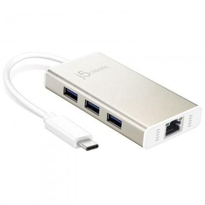 J5 CREATE USB 3.1 TYPE-C TO GIGABIT ETHERNET/ USB 3.1 HUB (JCH471)