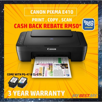 Canon Pixma E410 Color Inkjet Multifunction Printer (*FREE Touch n Go credit RM50)